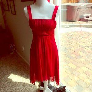 Slip on red satin asymmetrical dress
